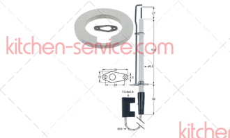 44.00.249P Электрод зажигания парогенератора SCC 101-202G. <br/>IGNITION ELECTRODE STEAM GENERATOR for models SCC101-202G as of 04/04